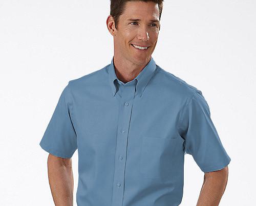 Camisa social masculina manga curta azul