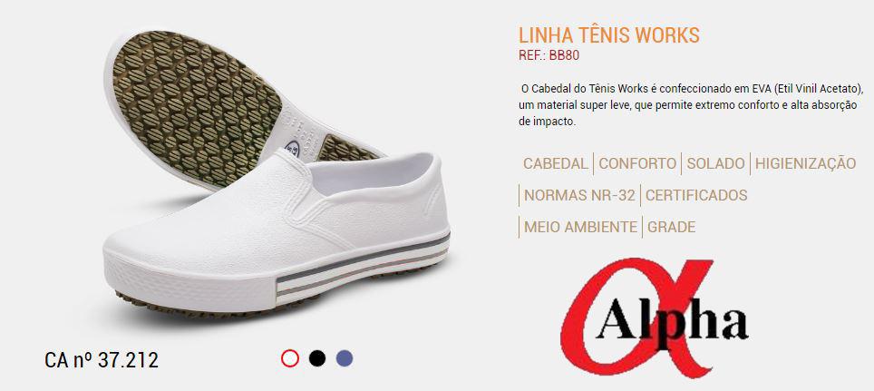 Calçado-tennis-Profissional-NR32-Linha-Works-BB 65-branco