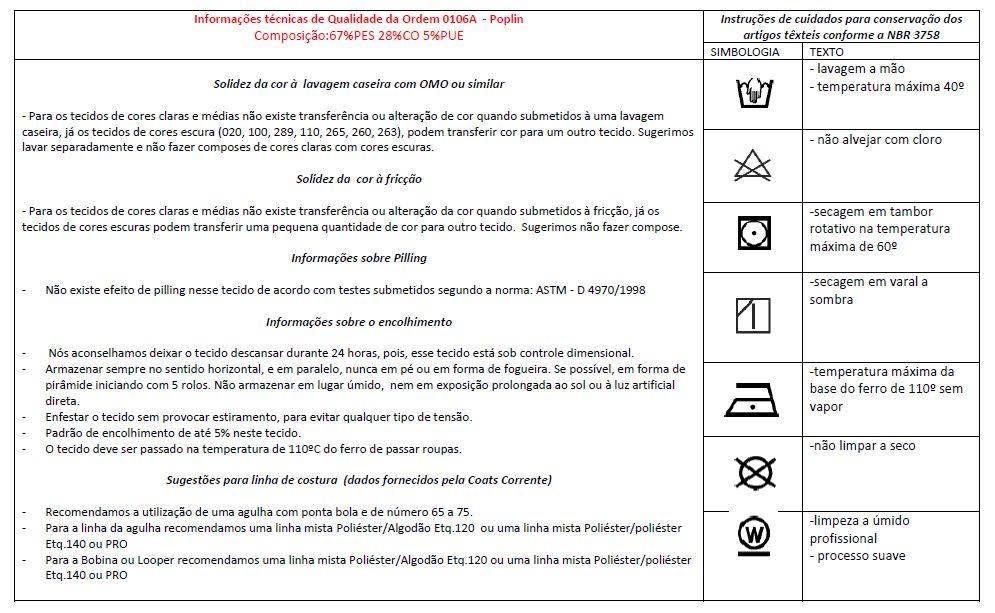 Instruções para cuidados com tricoline com elastano ou Poplin