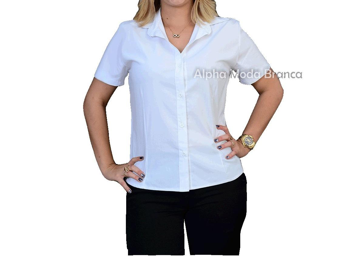 e59573c96c Camisa Social feminina manga curta gola esporte - Alpha Moda Branca ...