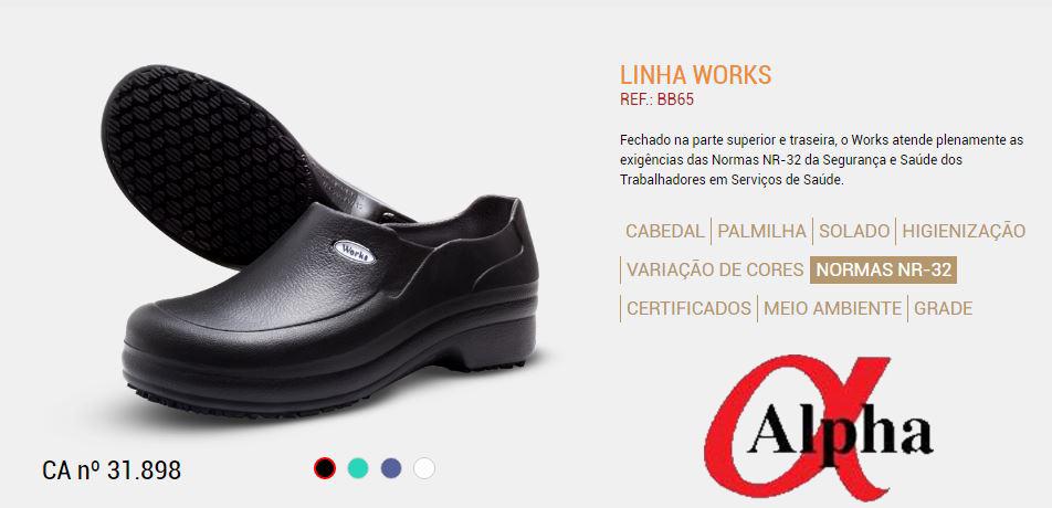 Calçado- Profissional-NR32-Linha-Works-BB 65-preto