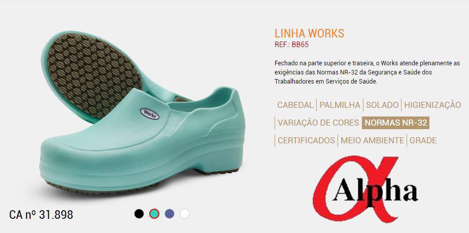 Calçado- Profissional-NR32-Linha-Works-BB 65-verde