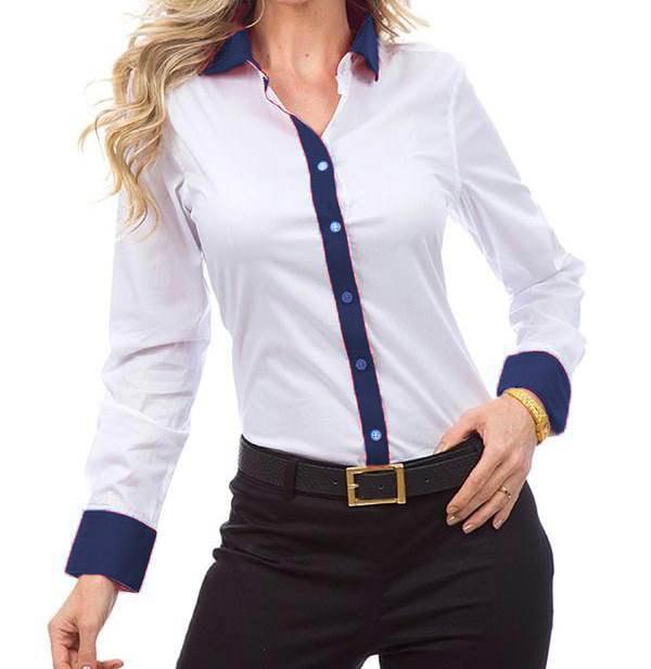 223f24db8716e Camisa Social Feminina Manga Longa com detalhes