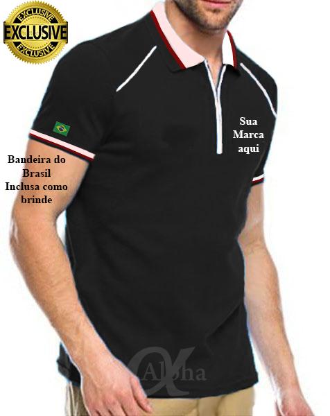 Camisas Pólo personalizadas Camisas Pólo personalizadas com golas e punhos  listrados 033d474c15d